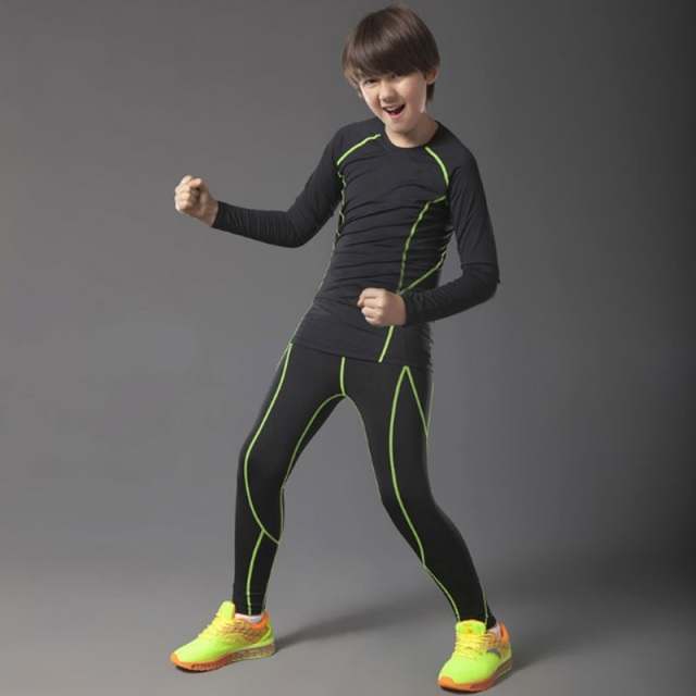60824f1f61c44 Compression running tights kids basketball pants men running training sets  fitness gym jogging leggings tights boys sports suit