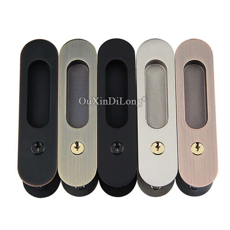 Brand New Recessed Sliding Door Lock Mortise Hook Lock Set with Brass Cylinder Push /Pull Door Lock 4 Colors цена