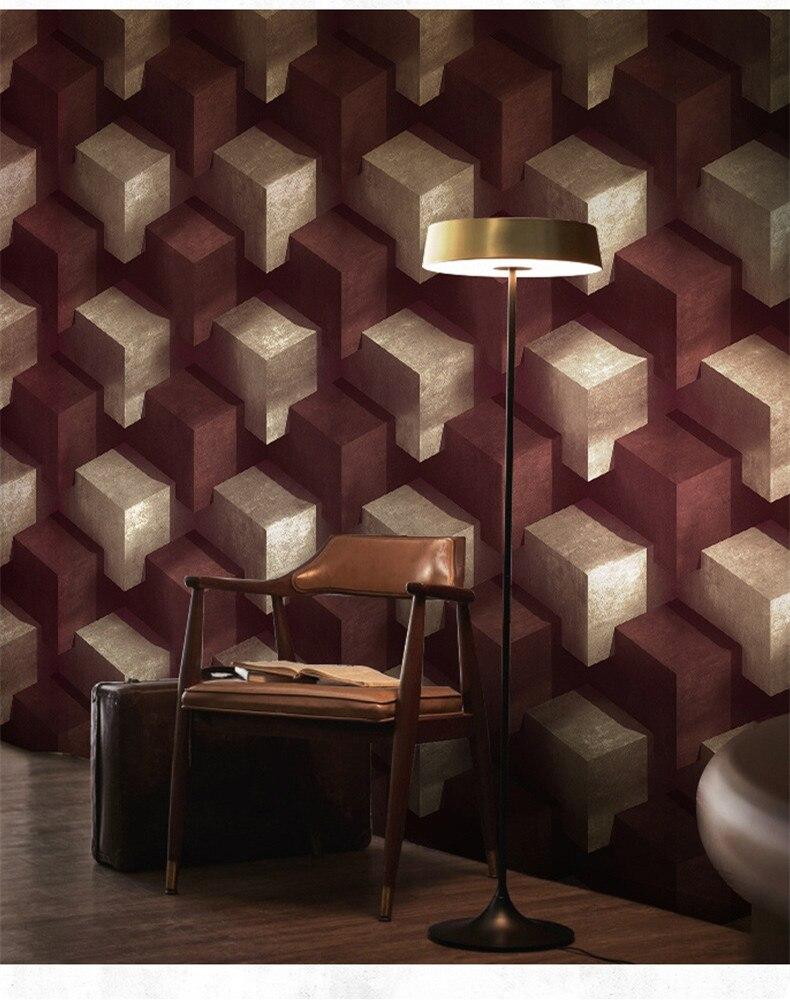 3D géométrique grille papier peint Mural étanche fond Mural pour salon PVC papier peint rouleau stéréoscopique à la recherche 10 M
