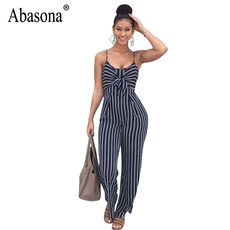 Abasona Women Wide Leg Jumpsuits Rompers Sexy Cut Out Striped Bow Tie Ladies Jumpsuit Office Ladies Casual Wear Printed Overalls