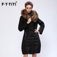 2016 new winter jacket, long and thick big fur collar slim slim knee dress coat