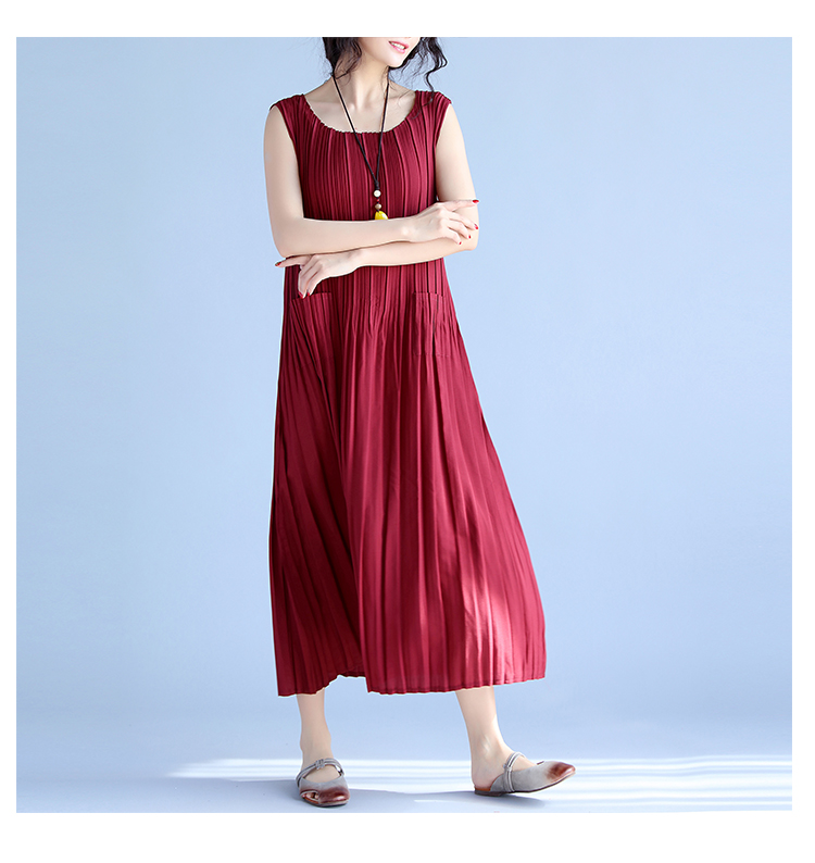 BelineRosa Women's Summer Dresses 17 Pure Color Casual Women Draped Dress Sleeveless Plus Size Dresses for Women QY00001 12