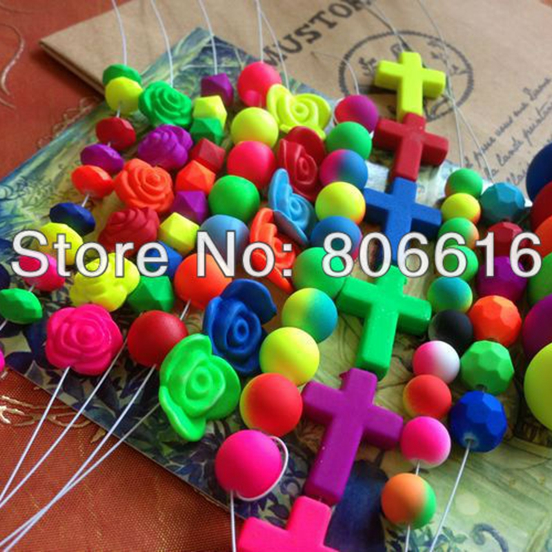 200G/Pack 6 22MM Mix Style & Color Flsorescence Style Plastic Acrylic Jewelry Bead Jewellery Loose Beads