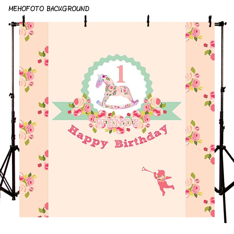 Custom Vinyl Photography Background Printing Flower Trojan Horse Toy One Newborn Birthday Party Backdrop for Photo Studio PA-033 need pay more $20 for sticker printing custom