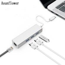 Asunflower Usb 3.0 Hub Ethernet For Macbook Type C Adapter Hub 3 Ports Usb 3.0 Gigabit Ethernet Lan rj45 1000 Mbps Network Adapt
