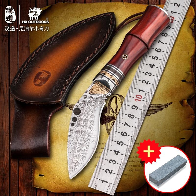HX на открытом воздухе Дамаск высокой твердостью золотые Антлерс Коллекция нож, нож выживания поле, открытый прямой нож