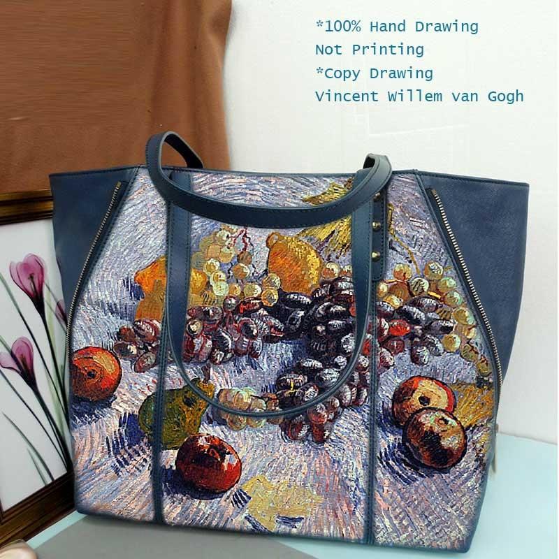 BIG Capacity High Quality Women Genuine Leather HandBags Totes Messenger Bags Designer Painting Vincent Willem van Gogh Fruit настенные фотокартины van gogh fruit df 218