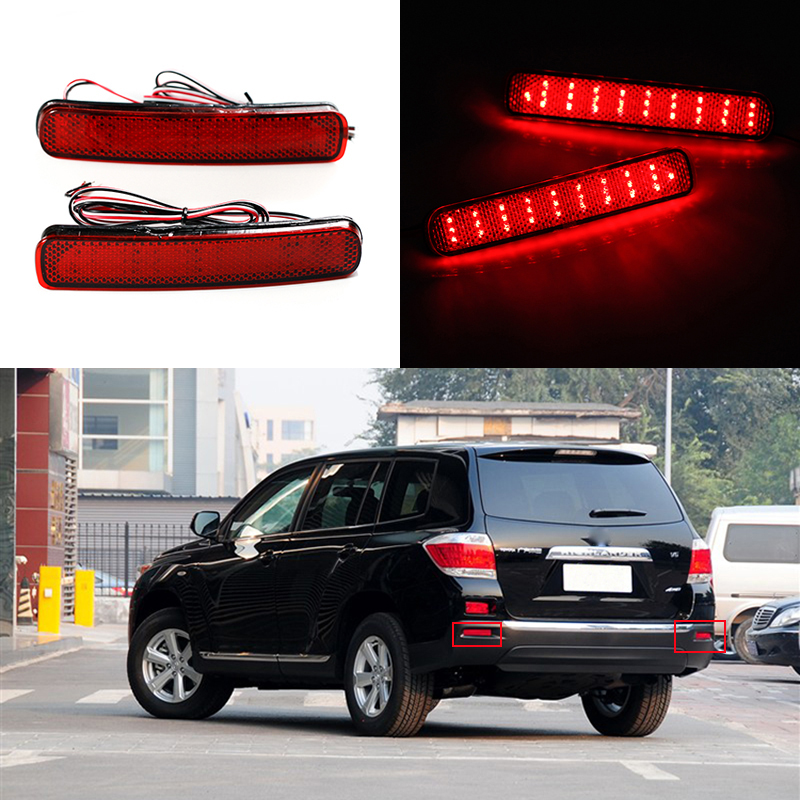 2 Pcs Car-styling 12V 6W Rear Bumper Lamp For Toyota Highlander 2011 2012 2013 LED Turn Signal Warning Brake Light stainless steel strips for toyota highlander 2011 2012 2013 car styling full window trim decoration oem 16 8