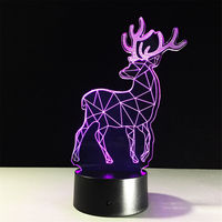 Deer 3D Remote Control Night Light 7 Colors Illusion Lamp Led Lampled Lamp Change Led Table