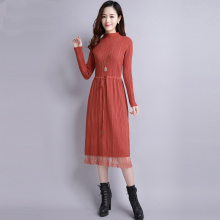Plus Size Limited Solid Mid-calf Empire Regular Full Dress 2018 New Spring Knitted Lace Dress Female Waist Thin Sweater Knee