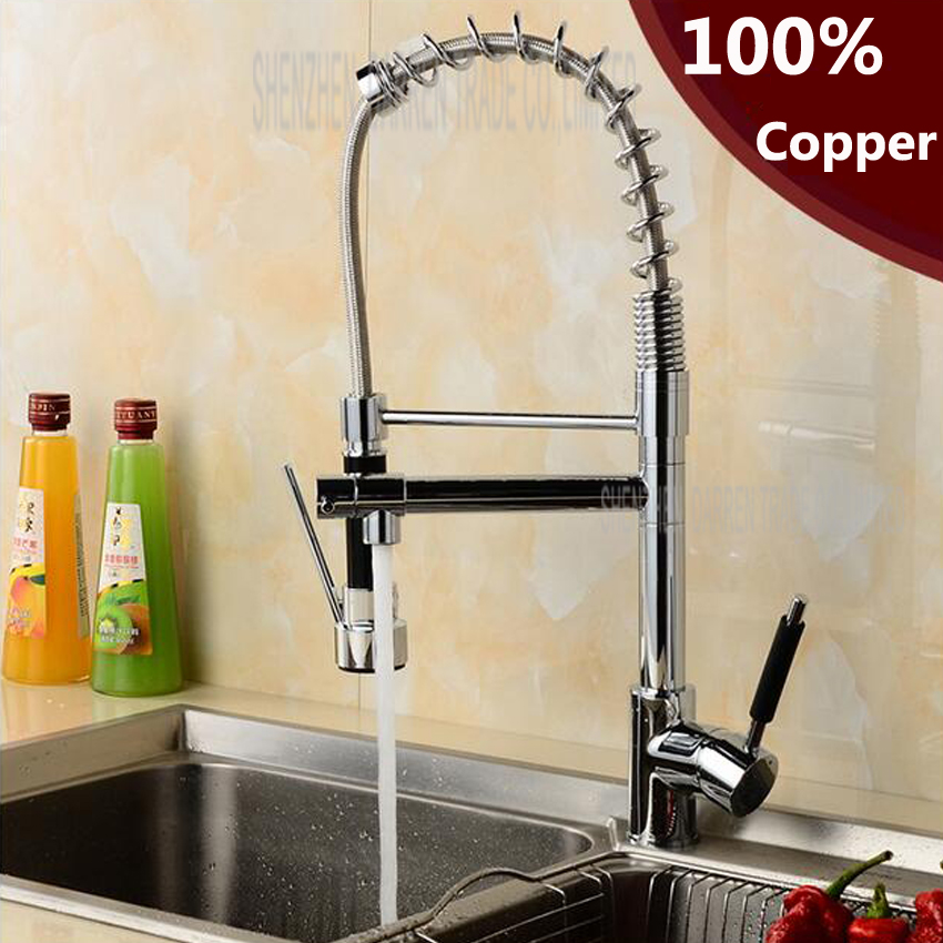 1 pc Chrome Finish Dual Spout Kitchen Sink Faucet Deck Mount Spring Kitchen Mixer Tap Ki ...