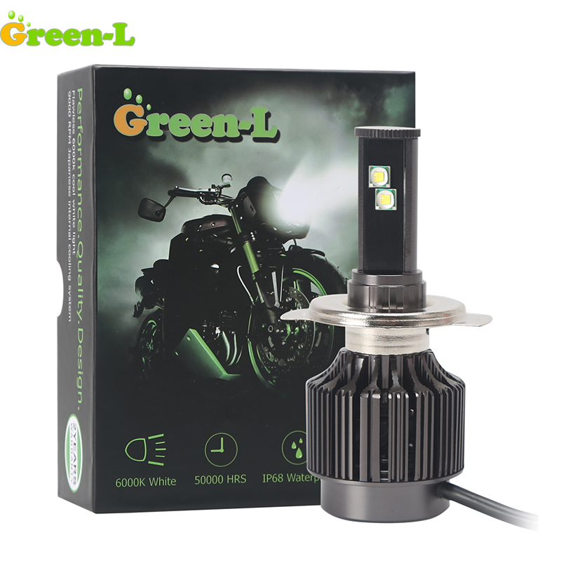 Green-L H6 H4 Led Motorcycle Headlight 12V 3500lm BA20D H6 Moto Bike Lamp Scooter Motorbike Headlamp Hi/Lo Beam IP68 6000K White