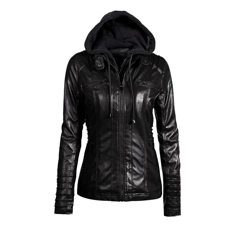Gothic 2018 faux   leather   warm coats women hoodies winter autumn motorcycle jacket black outerwear faux   leather   PU Jacket coat