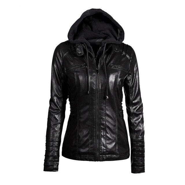 Gothic 2018 giả da ấm áo khoác nữ hoodie thu đông áo khoác đen áo khoác ngoài giả da PU Áo Khoác Áo khoác