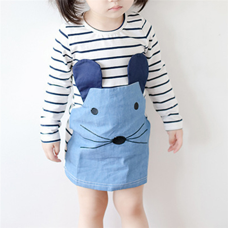 New  2017 New  Striped Patchwork Character Girl Dresses Long Sleeve Cute Mouse Children Clothing Kids Denim Clothes 3-6Years
