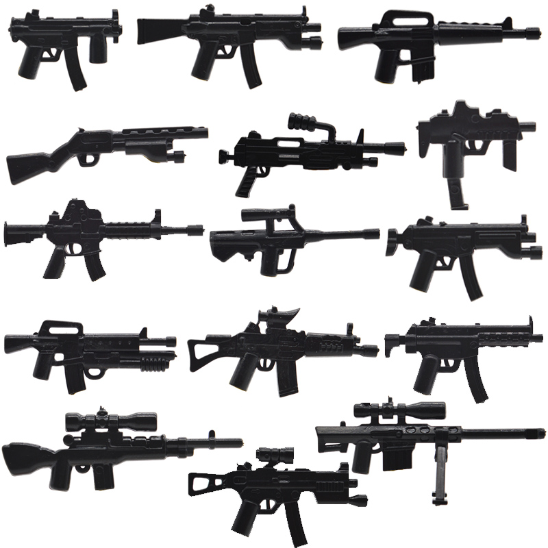 10pcs/lot WW2 Military Guns MP5KS Army Weapons M249 SG552-S M4A1 M14A Part Building Blocks Accessories Toys for Children pvc building blocks army field combat military escort weapons