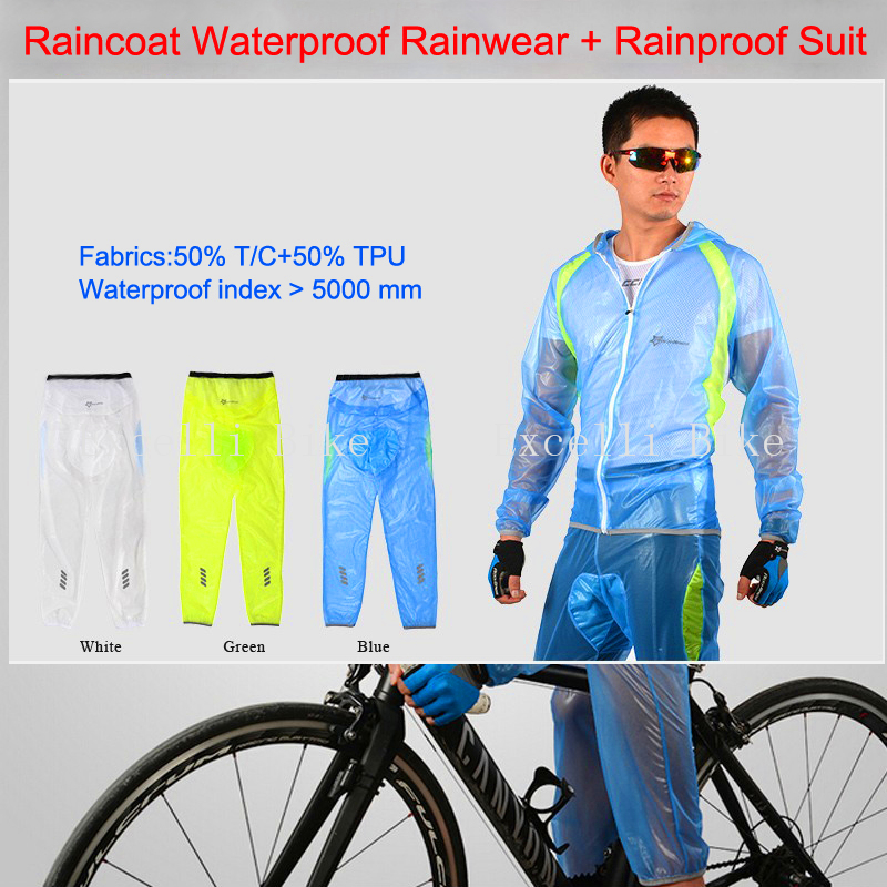 Bicycle Raincoat Waterproof Cycling Rain Jacket Suit Climbing Hiking Fishing Rainwear +Rainproof Pants Riding Sleeve Set M-XXXL