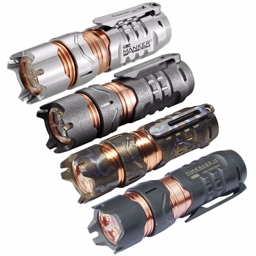 Manker Timeback II 2200 Lumens Spinner Titane lampe de Poche 4x CREE XPG3 LED Torche de Poche EDC 18350 lampe de Poche (4 Version Option)