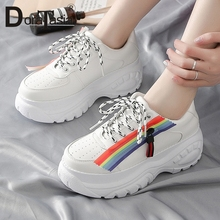 DORATASIA 2019 Spring New Ins Hot Rainbow Colored Sneakers Women Fashion High Dad Shoes Large Size 36-41 Woman