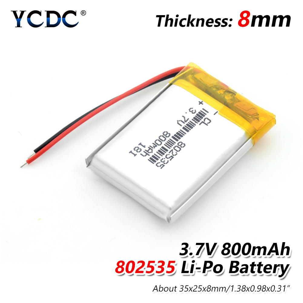 1/2/4pcs High Quality 3.7V 802535 800mAh Li-ion Polymer Lithium Battery 3.7 Volt Lithium Ion Li-po Li-polymer Batteries Cells