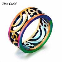 L'amore per Gay A Getto D'inchiostro Anello Arcobaleno Gay Pride Parade anelli Stuoia 9 MM Dell'acciaio inossidabile Scava Fuori Anelli Arcobaleno FORMATO 7 ~ 12
