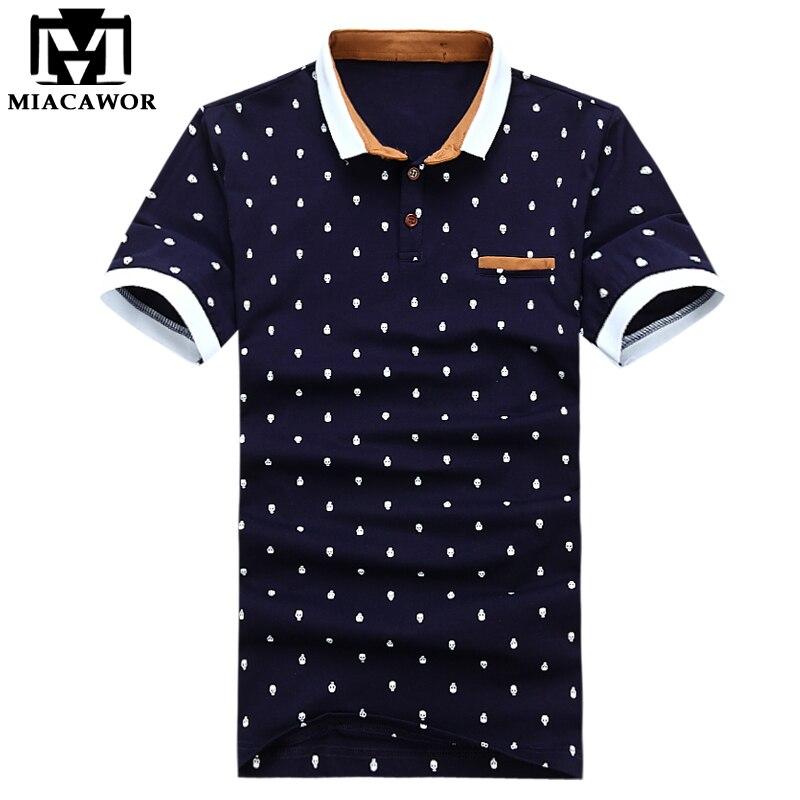 MIACAWOR חדש חולצת פולו גברים 95% כותנה קיץ חולצה קצר שרוול Poloshirts האופנה גולגולת נקודות הדפסת Camisa חולצות Tees MT437-בפולו מתוך ביגוד לגברים באתר
