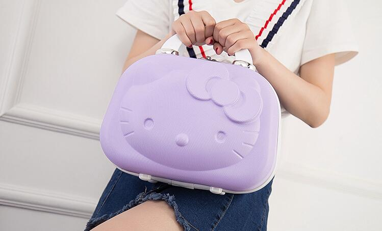 Hello Kitty Cosmetic Bag Cartoon Travel Portable Women Fashion suitcase Lovely Cosmetic Case makeup box Children's gift
