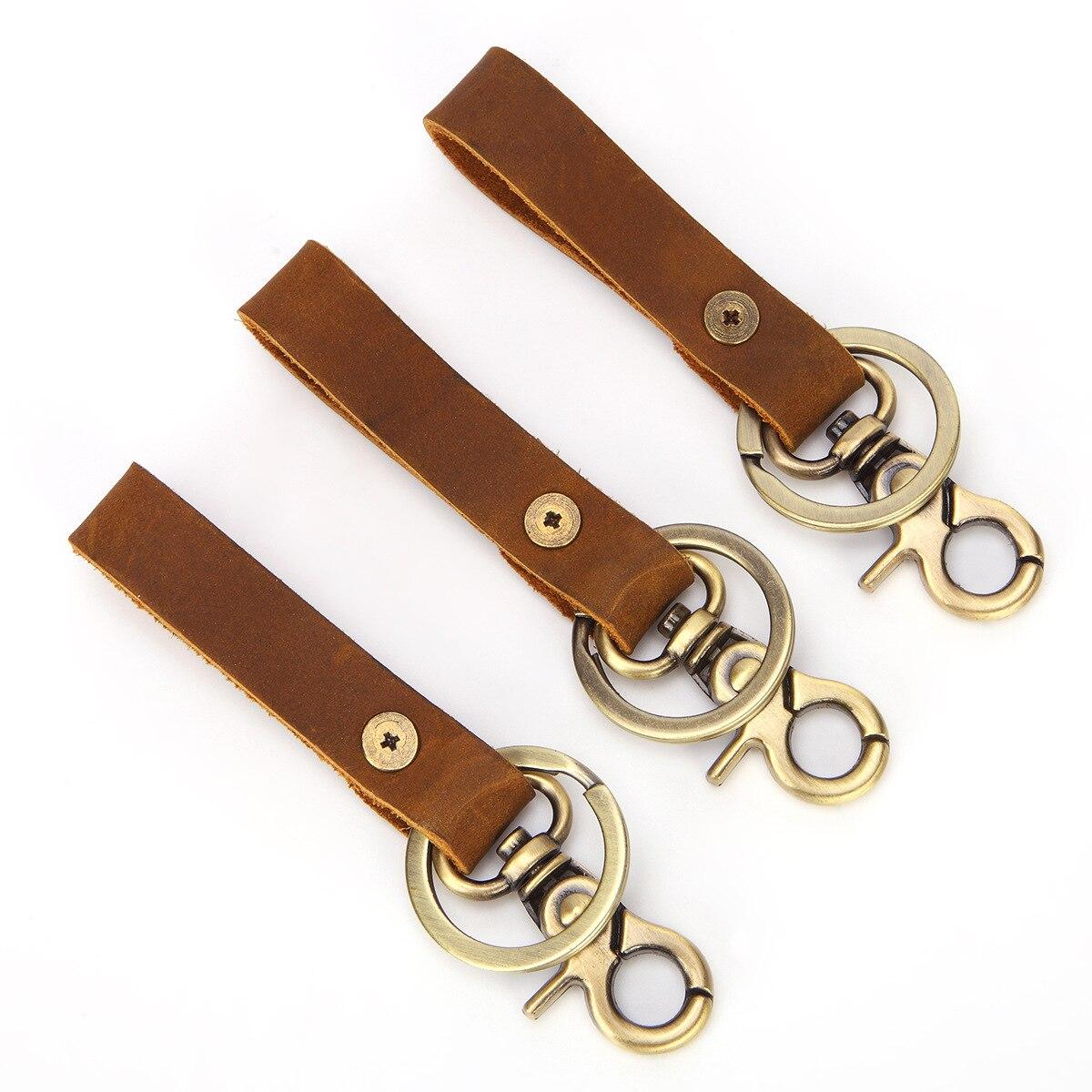 Diamond Plate Genuine Leather Keychain Personalized