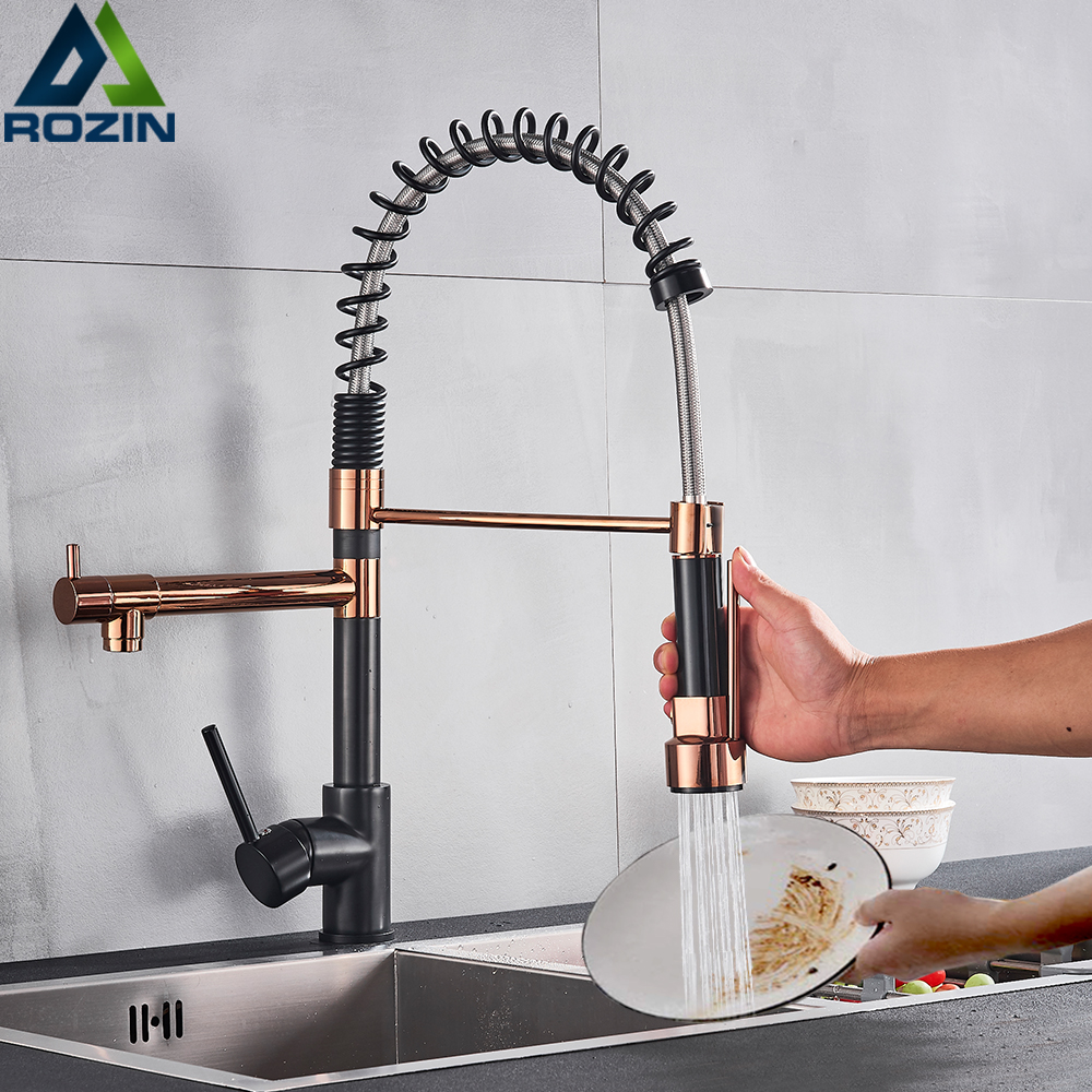 Rozin Black and Rose Golden Spring Pull Down Kitchen Sink Faucet Hot Cold Water Mixer Crane Rozin Black and Rose Golden Spring Pull Down Kitchen Sink Faucet Hot & Cold Water Mixer Crane Tap with Dual Spout Deck Mounted
