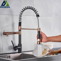 Rozin Black and Rose Golden Spring Pull Down Kitchen Sink Faucet Hot &
