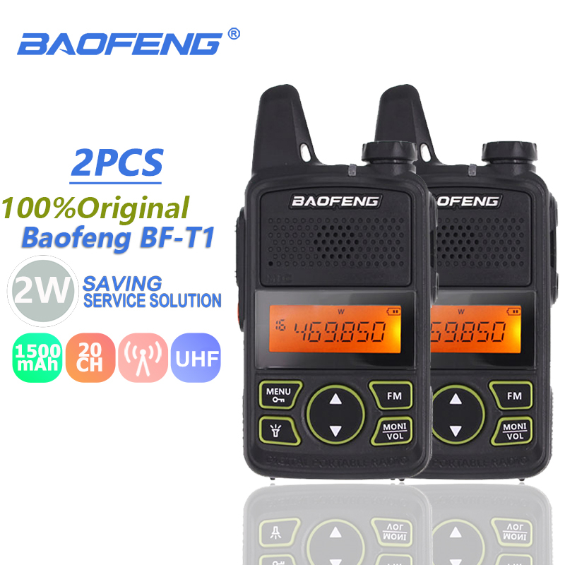 2pcs Baofeng BF-T1 Mini Kids Walkie Talkie UHF Portable Two Way Radio FM Function Ham Radio Baofeng T1 USB Child HF Transceiver
