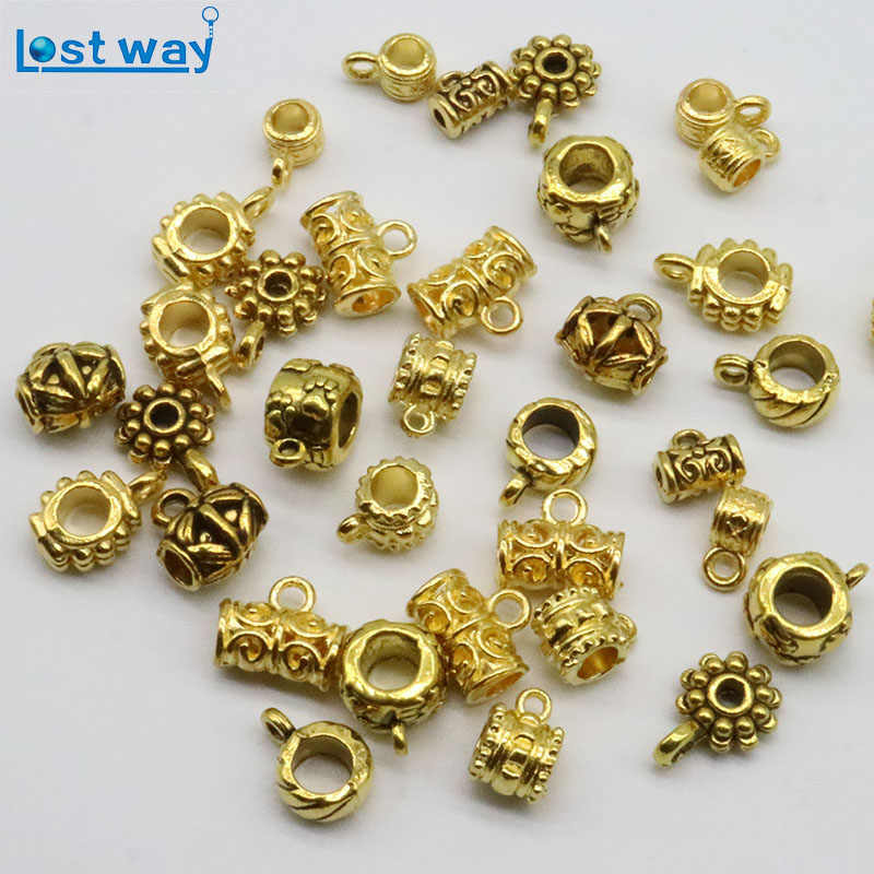 50/100pcs Antique Gold Color Pendant Clasp Necklace Connector Bail Beads Vintage Charm Jewelry Connectors for DIY Jewelry