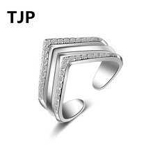 TJP Lovely Heart Shaped Open Size Women Finger Jewelry Fashion 925 Sterling Silver Ring For Girl Wedding Party CZ Crystal Stones