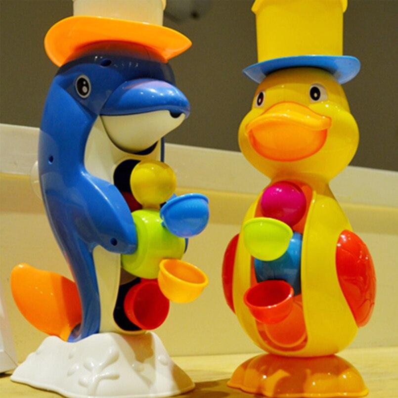 Abbyfrank 18 см желтая утка синий Дельфин животных Для ванной душ колесо игрушка pp Пластик waterwheel Тип dabbling игрушка для детей детские