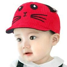 Corduroy Cartoon Baby Baseball Cap Cute Cat Toddler Sun