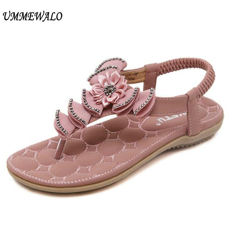 e81e79280a14 UMMEWALO Summer Sandals Women T-strap Flip Flops Thong Sandals Floral Designer  Elastic Band Ladies