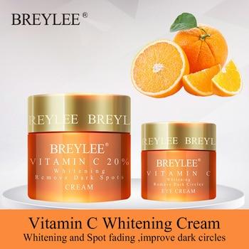 BREYLEE Vitamin C Whitening Set Face Cream Eyes Cream Remove Dark Circles Fade Freckles Spots Melanin