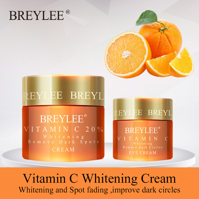 BREYLEE Vitamin C Whitening Set Face Cream Eyes Cream Remove Dark Circles Fade Freckles Spots Melanin