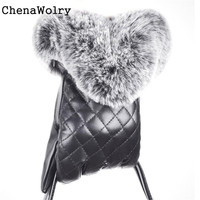 ChenaWolry 1PC 100 New Fashion Accessories Women Full Finger Leather Winter Warm Cashmere Gloves Mittens Touch
