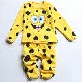 Traje Niños chándal Niños Niñas, Además de Terciopelo de Ropa Ropa de Dormir Conjuntos de Ropa Interior Patrón de Bob Esponja Pijamas de Invierno En General