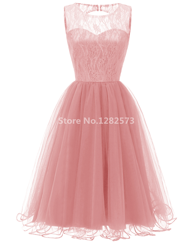 1ebc4c22138 In Stock Navy Blue Lace Tulle Cocktail Dresses Elegant Short Pink Cheap  Simple Formal Dress Wine Red O Back Prom Gown