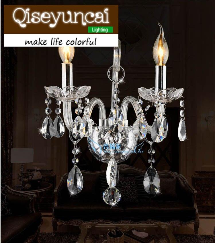 Qiseyuncai LED svíčka K9 Křišťálová svítidla Jednoduchá moderní 1 nebo 2 hlavová průhledná křišťálová svítidla