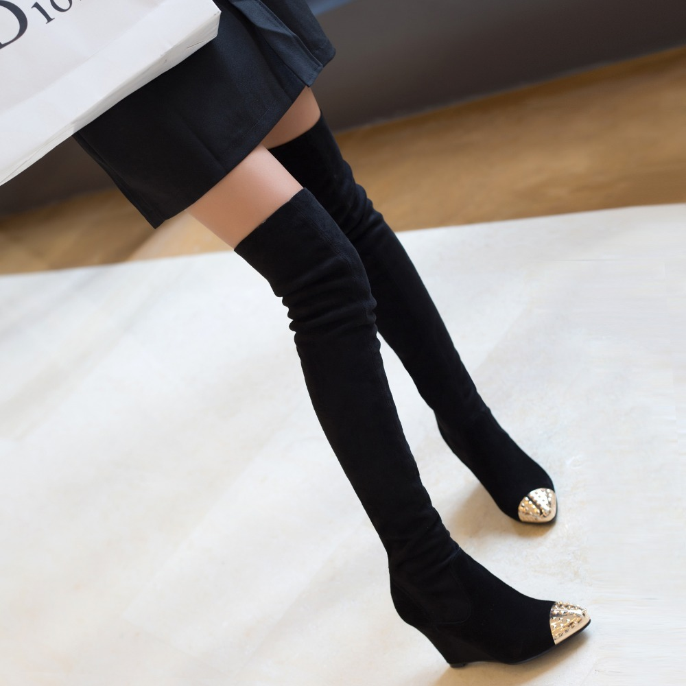 ФОТО Plus size40 Botines Female winter boots women over the knee high thigh boots high heel suede boots Stretch botas mujer femininas
