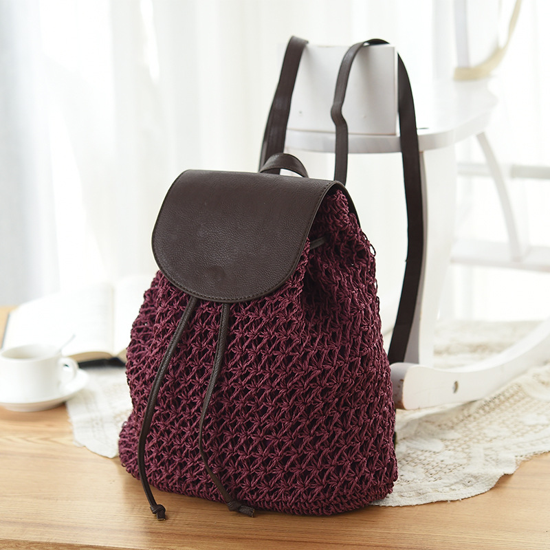 Women Bag Backpack Designer Fashion Hollow Out Woven Drawstring Laides Bags Small Summer Beach Backpacks Women Straw Bag Mochila