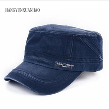 Cotton Denim Flat Cap Men Summer Washed Baseball Army Dad Hat Snapback Bone Male Retro Casual Trucker Sun Hats