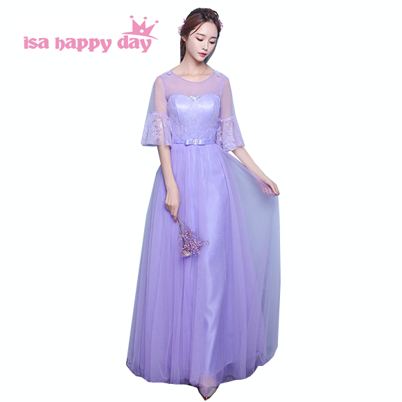 lilac purple   dress   long tulle   bridesmaid     dresses   2019 for   bridesmaids   ball gowns under $100 women fall party   dress   B3902