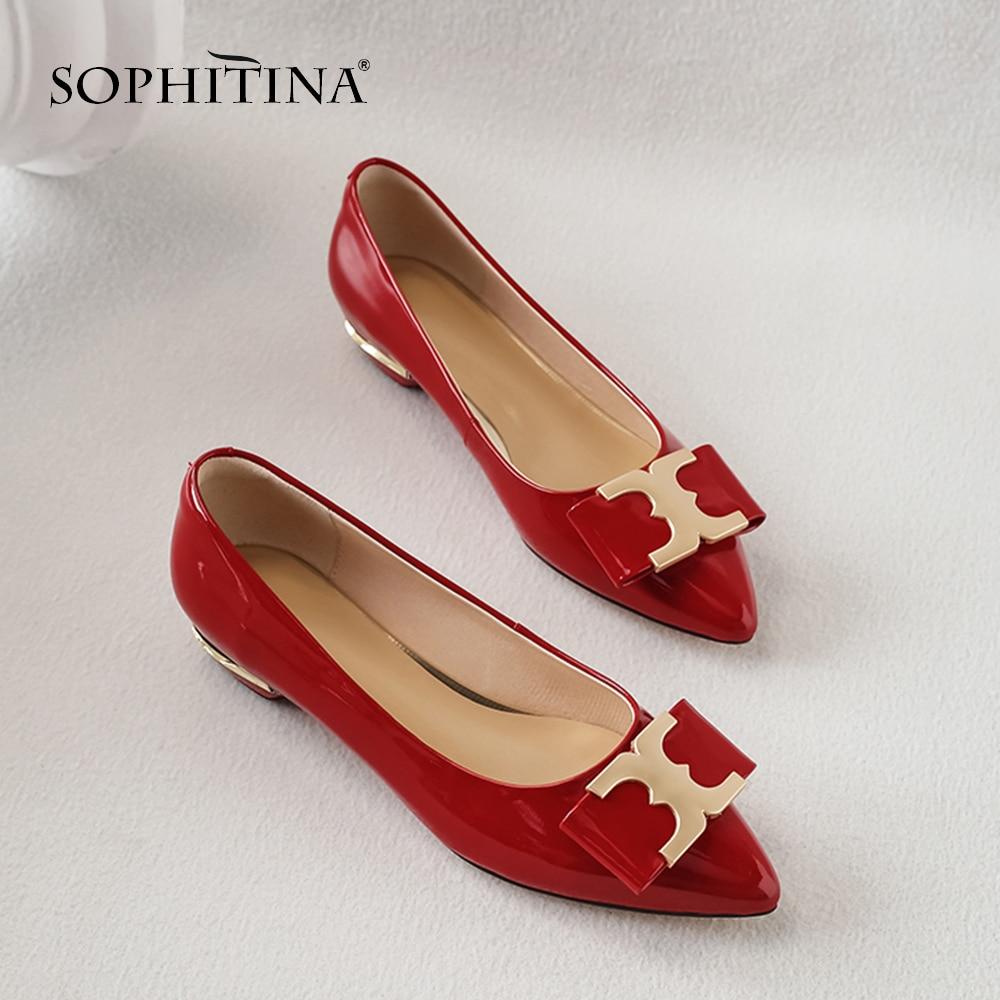 Vache white Sexy red Printemps Black En Sophitina Main À Femmes De La Grande Chaussures Décontracté Pointu Cuir Mode Décoration Bout Taille Métal Pompes So82 qBwOdxwg