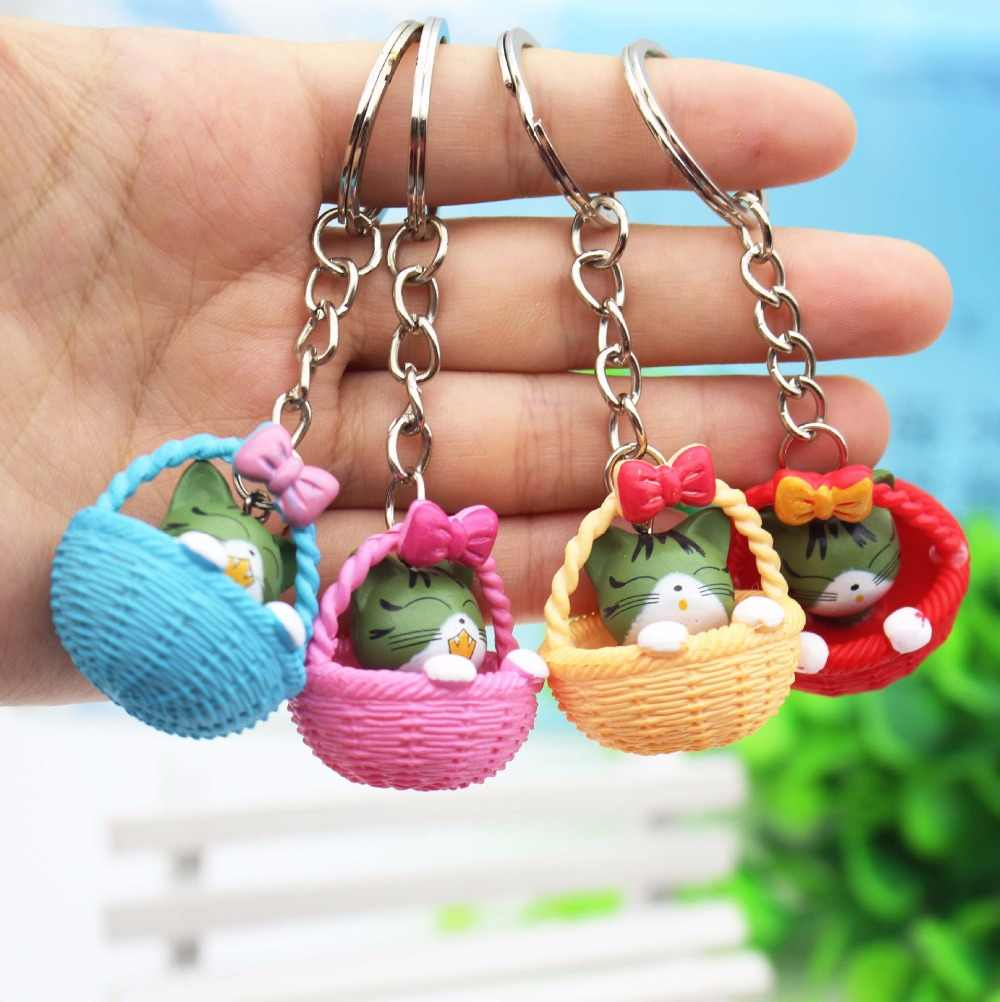 Colorful Creative Personality Cute Little Cat Weave Basket Keychain For Women Men Kawaii Keychain Macarons Keychain Cute Jewelry