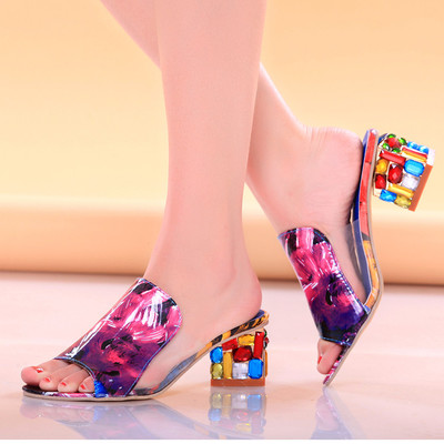Rhinestone Summer Slippers Women Summer Beach 2018 New High Heels Shiny Ladies Shoes Sexy Party Colorful Open Toe Pumps Crystal weiqiaona european 2018 women new fashion show leather snake skin rhinestone flowers high heel sandalss sexy ladies party shoes