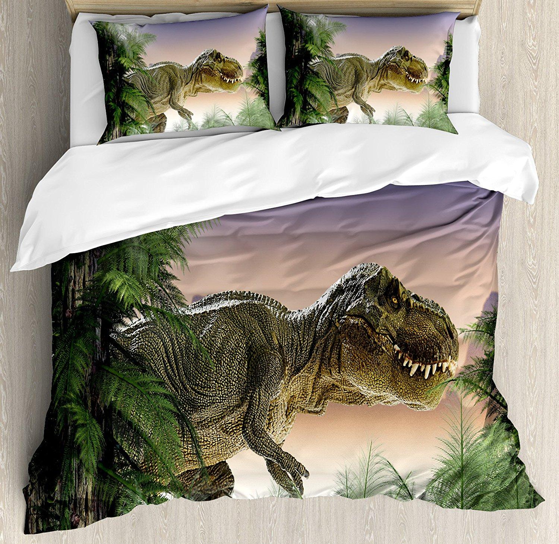 Юрского периода Декор Набор пододеяльников для пуховых одеял набор динозавров в джунглях Ёлки лес природа Вудс страшно Хищник насилие 4 шт.